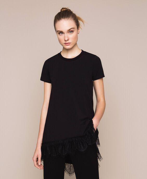 Maxi-T-Shirt mit Chantillyspitze