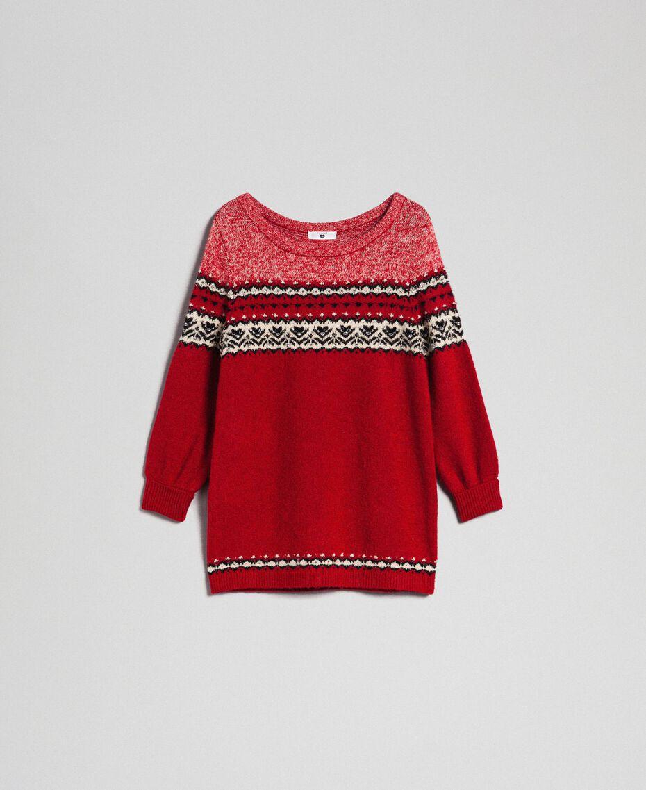 Maxi pull en mélange de laine et mohair jacquard Rouge Ardent Femme 192LL3AHH-0S