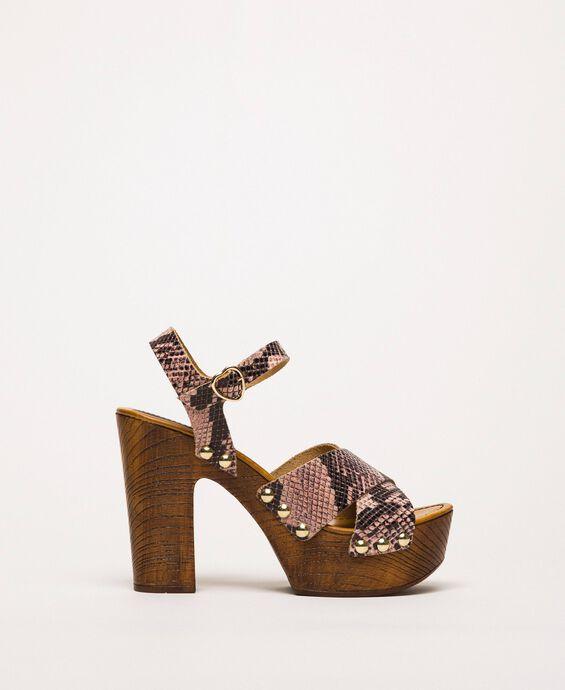 Clog-Sandalette aus Lederimitat mit Animal-Dessin