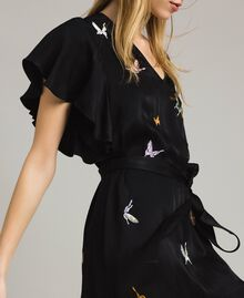 Satin dress with butterfly embroidery Black Woman 191TT2114-04
