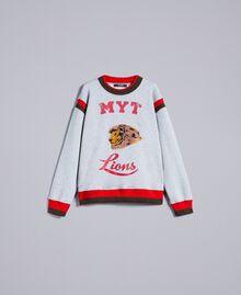 "Embroidered cotton sweatshirt with print Multicolour Grey Melange / ""Poppy"" Red / Alpine Green Man UA82DC-0S"