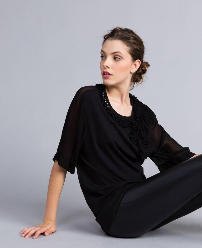 Maxi t-shirt en jersey avec ruches Noir Femme PA82DE-03