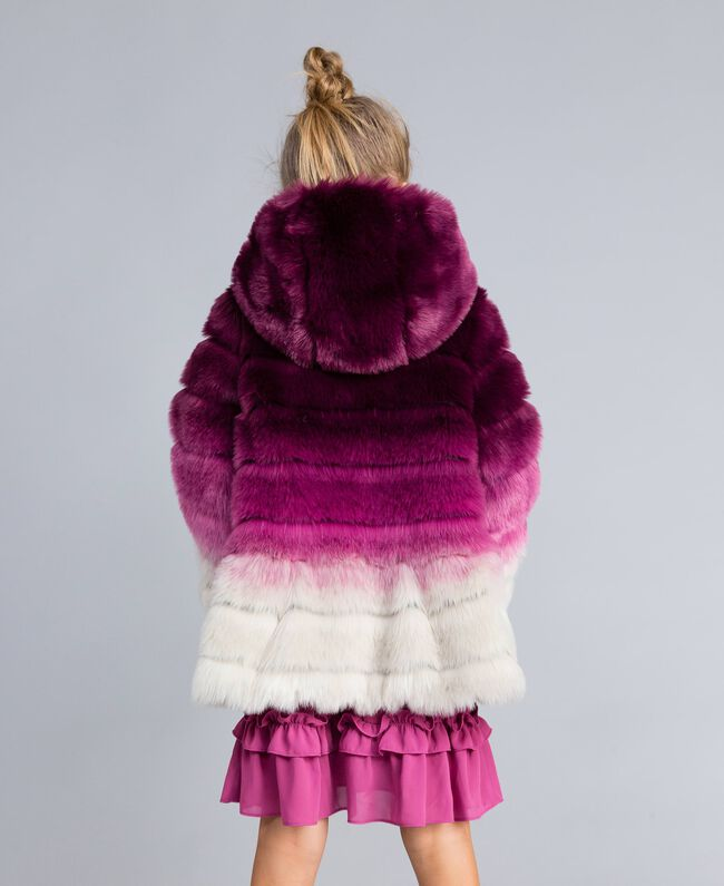 "Faux fur reversible jacket ""Grape"" Purple / ""Bougainvillea"" Pink Gradient Print Child GA82AR-03"