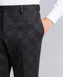 Completo giacca e pantalone stampato Stampa Quadri Grigio Melange Uomo UA82BN-07