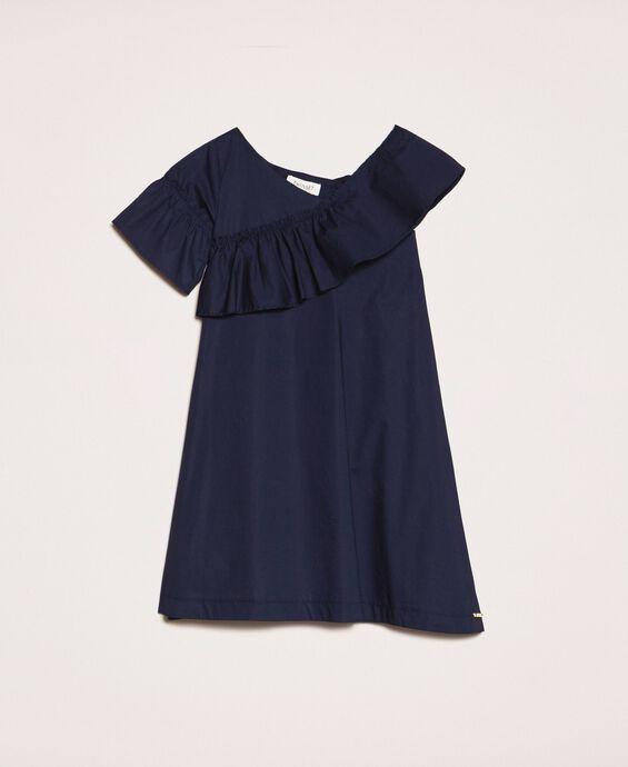 Poplin dress with ruffle