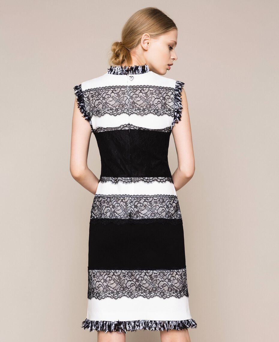 Two-tone sheath dress with lace White / Black Woman 201TQ2070-03