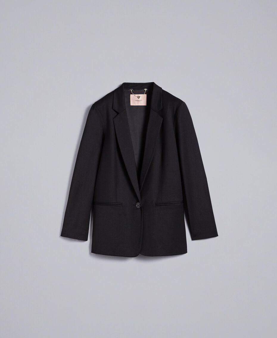 Jacke aus Cool Wool Schwarz Frau PA823R-0S