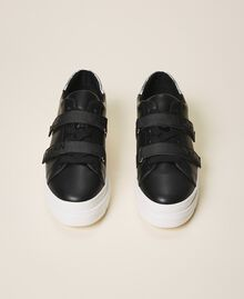 Faux leather trainers with logo Black Woman 202MCT010-05