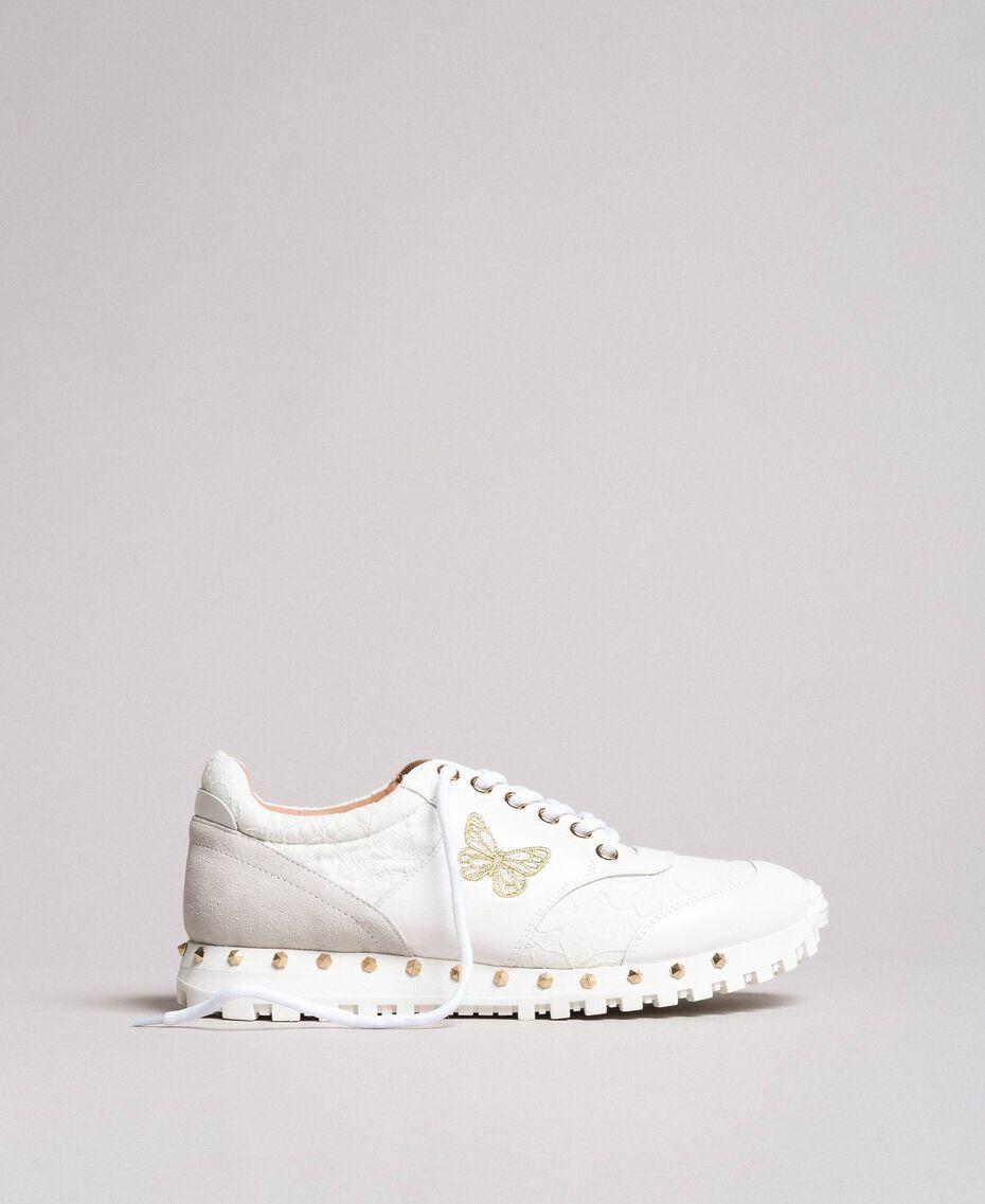 Sneakers aus Spitze und Wildleder Weiß Frau 191TCP026-03
