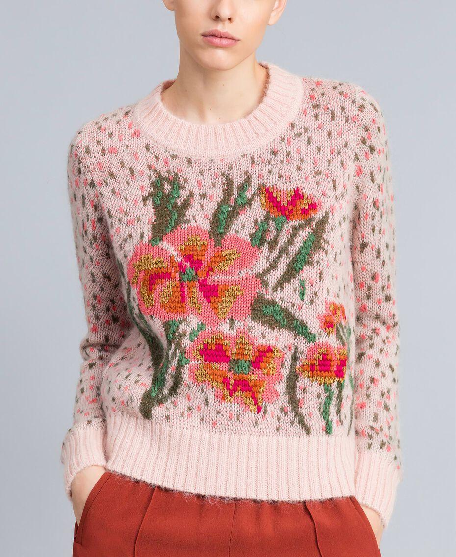 Pull jacquard floral et pois Jacquard Fleurs Rose Pâle Femme TA83CC-02
