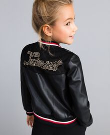"Embroidered faux leather jacket Bicolour Black / ""Poppy"" Red Child GA82B1-04"