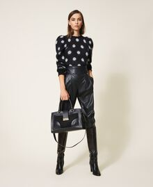 Smooth leather and suede shopper Black Woman 202TB7283-0S