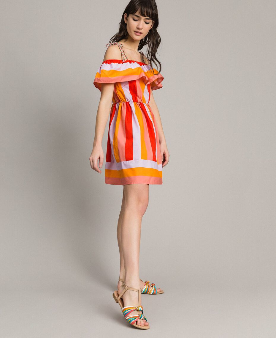 Multicolour striped poplin dress Multicolour Grenadine Print Woman 191TT2412-02