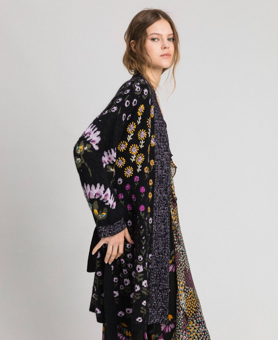 Floral jacquard cardigan with embroidery Multicolour Floral Jacquard Woman 192TT3241-02