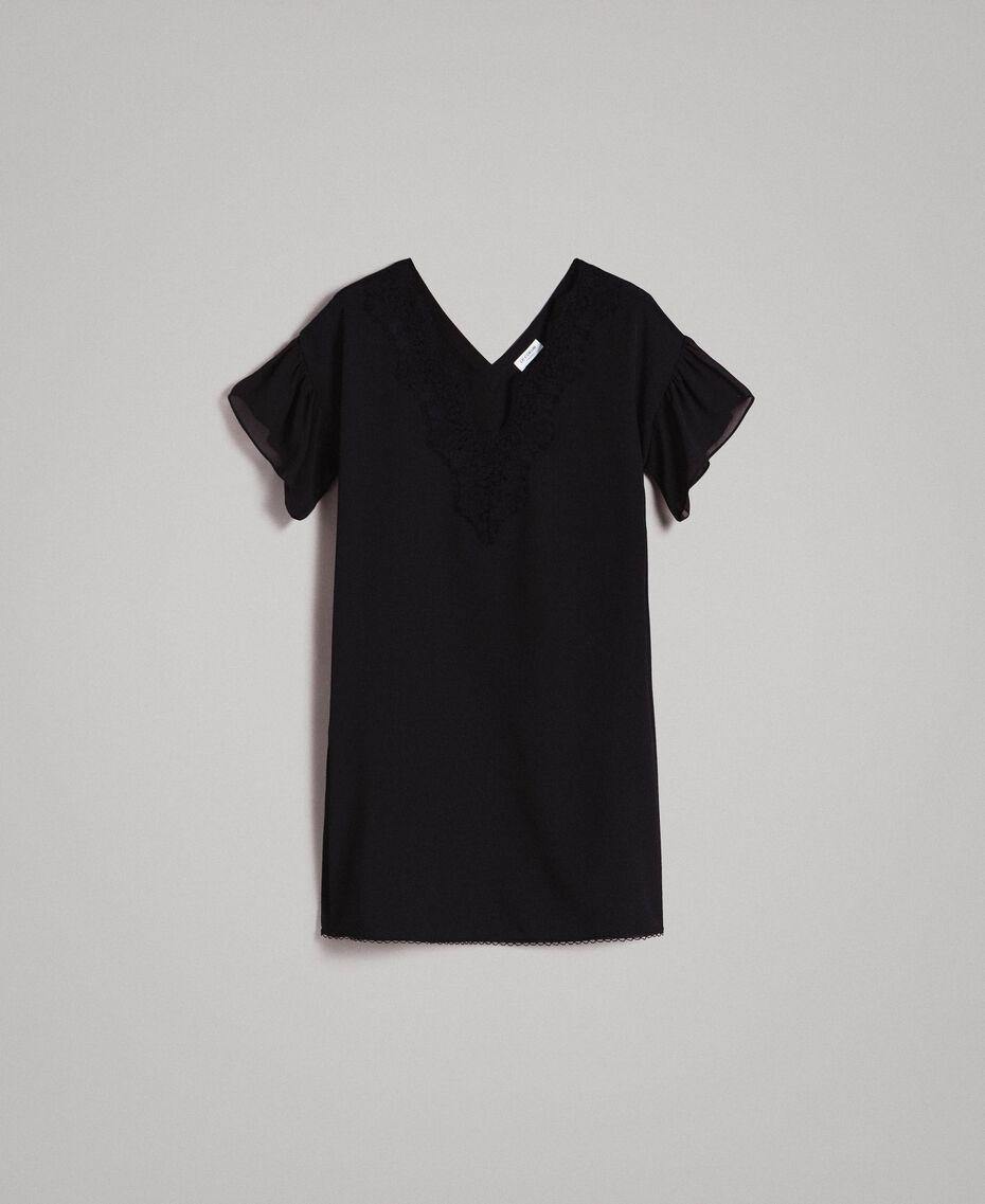 Robe tunique en crêpe de Chine et dentelle Noir Femme 191ST2063-0S