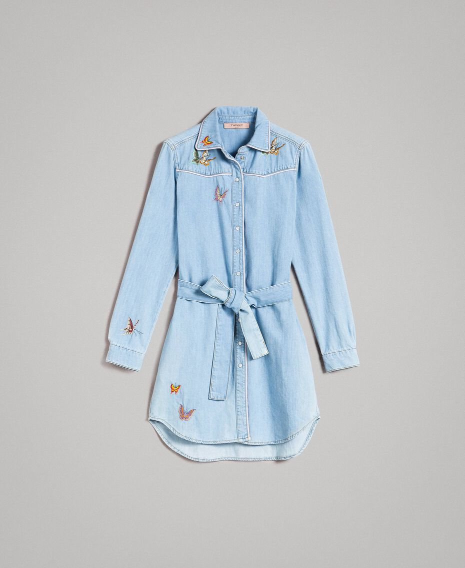 Denim shirt dress Light Denim Woman 191TP2534-0S