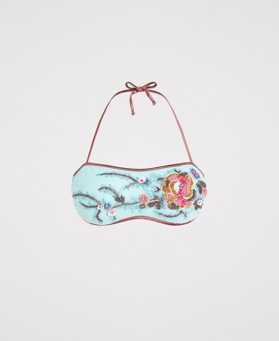 Haut de bikini bandeau avec broderie Bleu Mousse Clair Femme 191LBM111-01