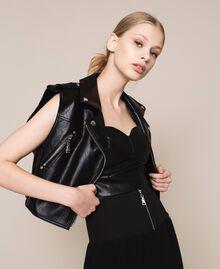 Perfecto sans manches en similicuir Noir Femme 201MT2200-02