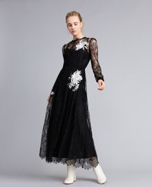 Long Valencienne lace dress Black Woman PA824Q-01