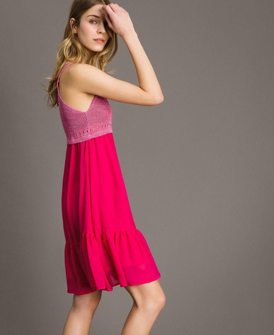"""Трикотажное платье с шифоном Фуксия """"Ядовитый розовый"""" женщина 191LB2KAA-02"""
