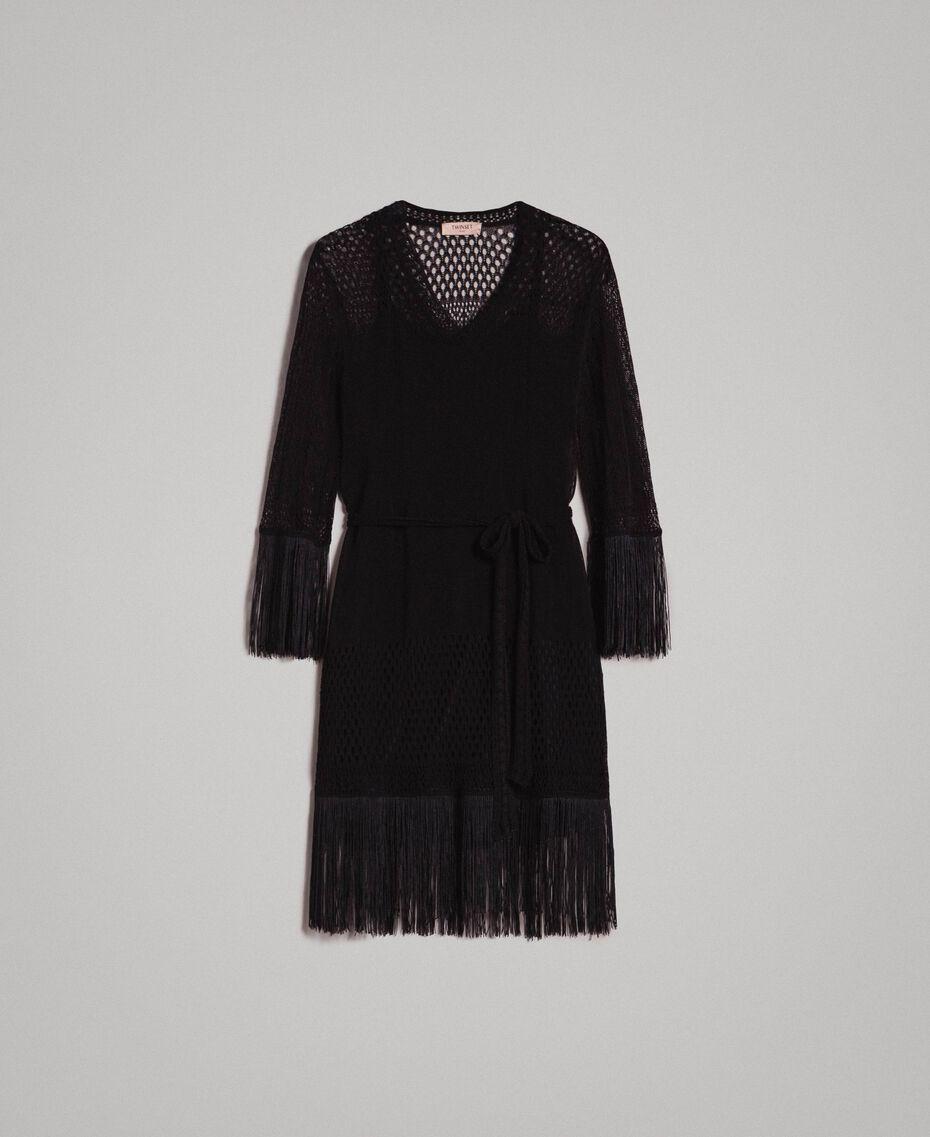 Kleid mit Netzmaschen und Fransen Schwarz Frau 191TT3060-0S
