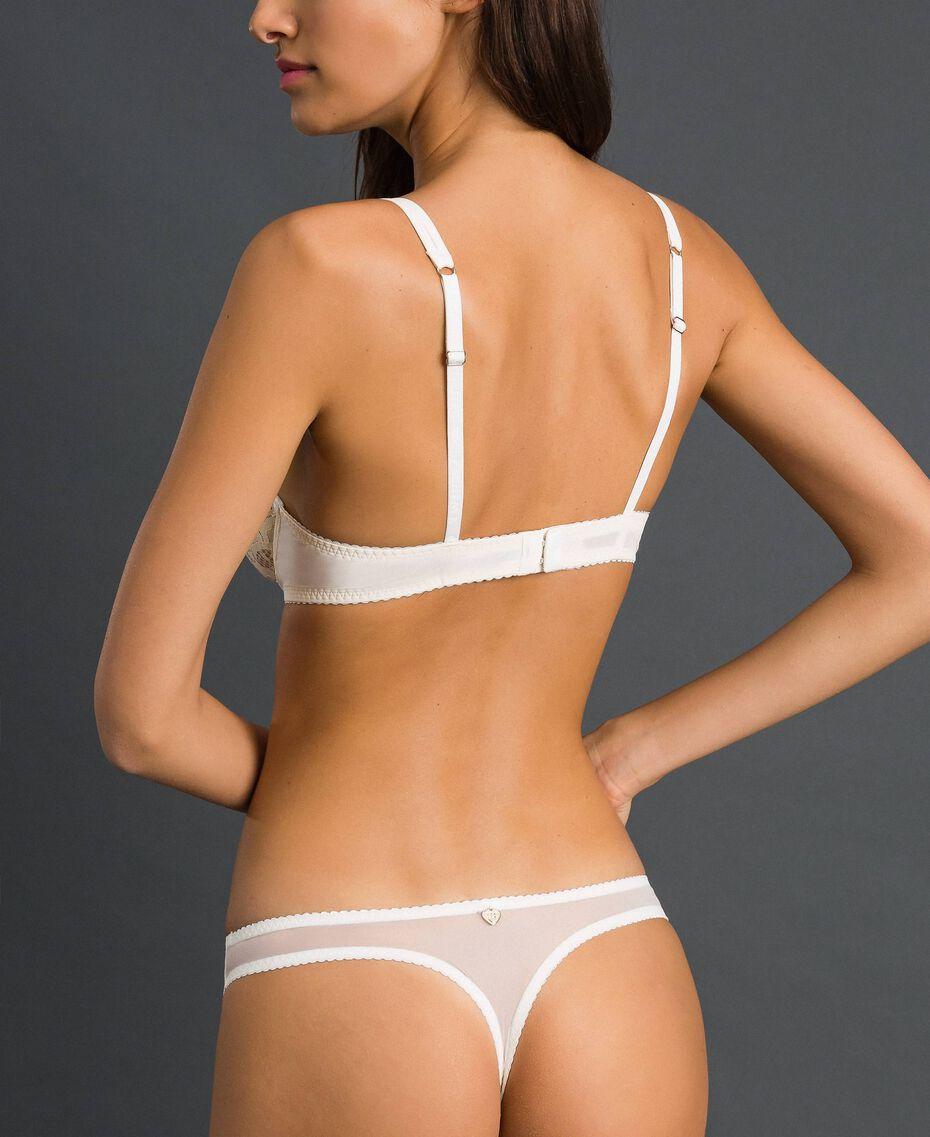Tanga de tul y encaje Crema Mujer 192LI6188-03