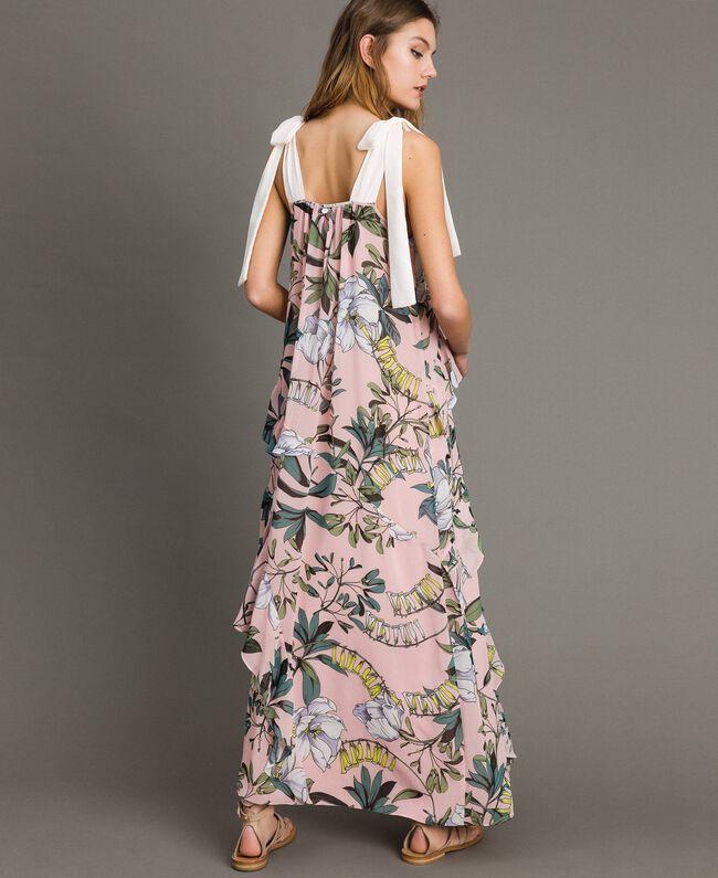 """Georgette-Maxikleid mit Blumenmuster Motiv Exotisch """"Soft Pink"""" Frau 191ST2223-03"""