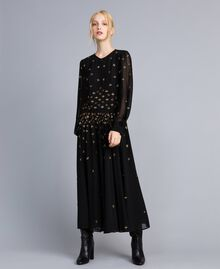 Robe longue en crêpe georgette avec broderie Noir Femme TA826A-02