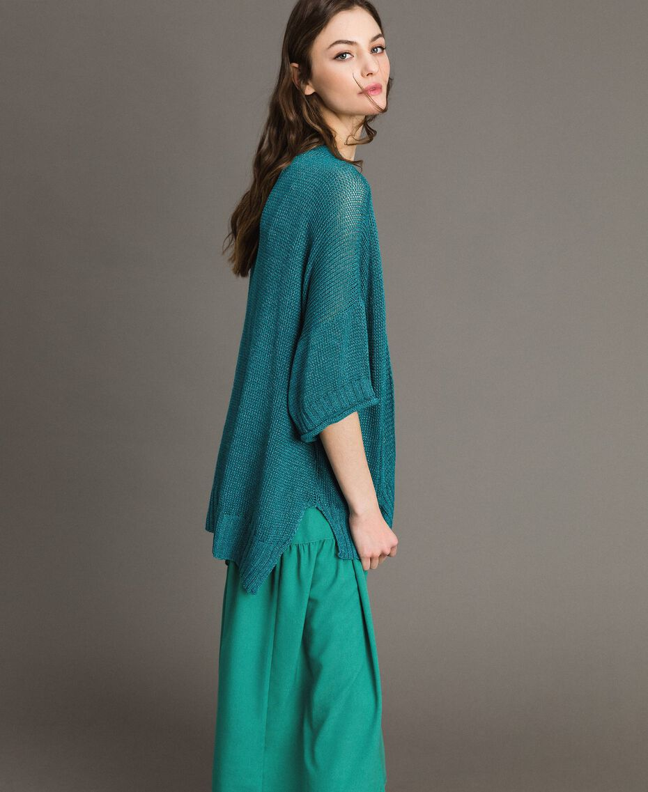 V-neck maxi cardigan Tile Blue Woman 191TT3141-02
