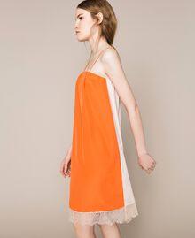 Robe nuisette avec dentelle Bicolore Orange «Calendula» / Blanc Cassé Femme 201MT2282-04