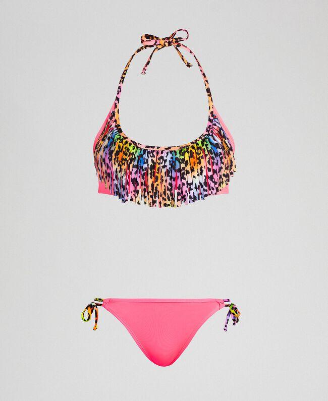 Bikini 'Elettra x Twinset' Fluorescent Pink / Leopard Print Woman 191TQM021-01