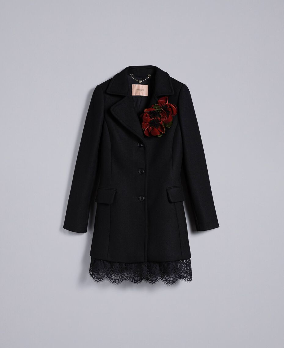 Cloth coat with bottom lace Black Woman PA826S-0S