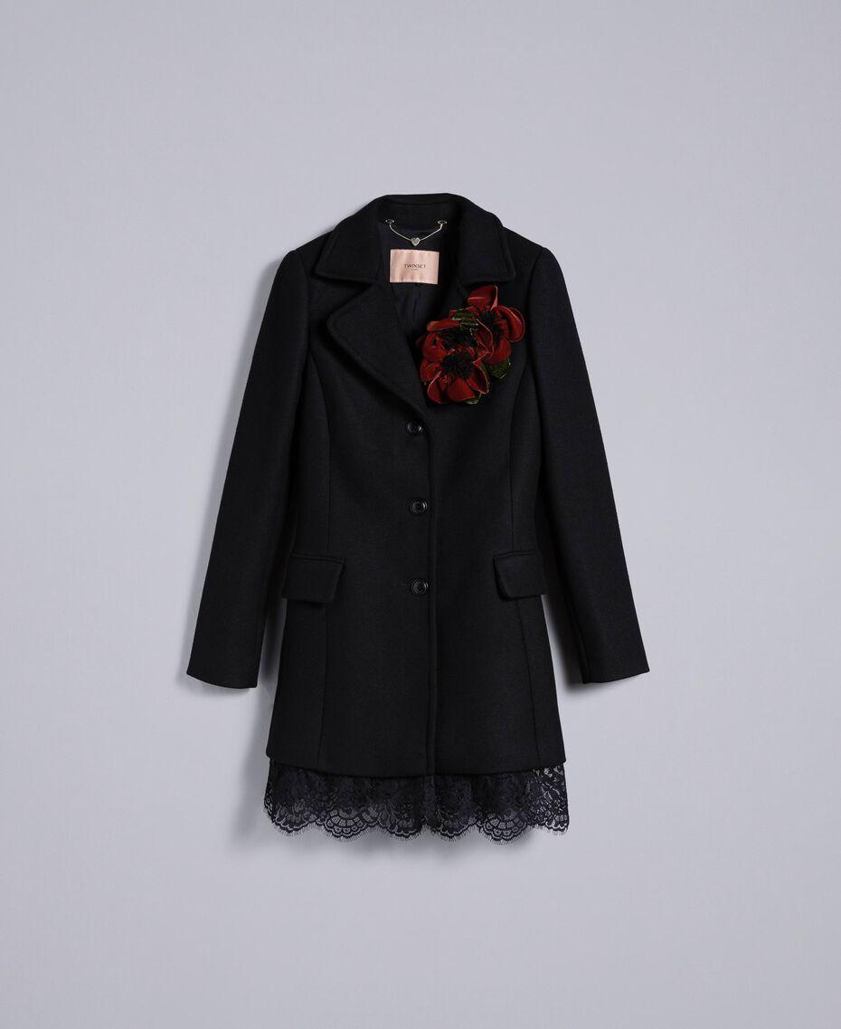 Manteau en drap avec dentelle dans le bas Noir Femme PA826S-0S