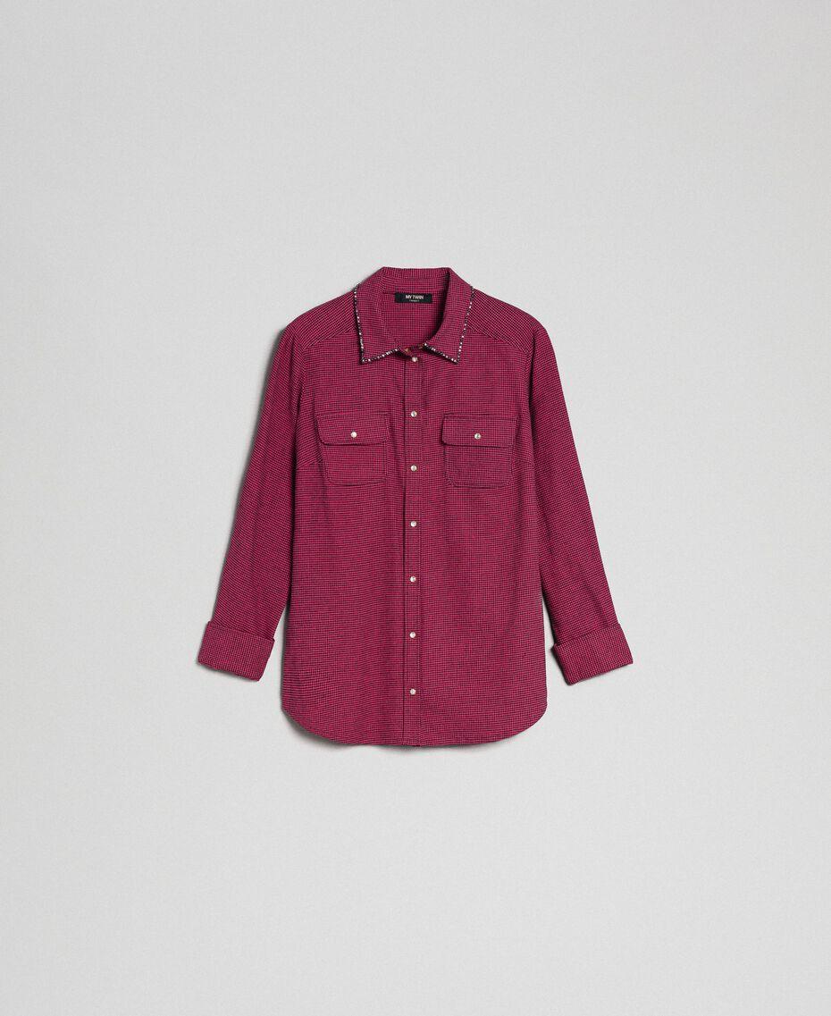 """Рубашка с микроузором 'куриная лапка' Гусиная Лапка Розовый """"Розовый блеск"""" / Черный женщина 192MT2124-0S"""