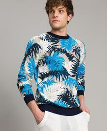 """Crêpe cotton printed jumper All Over """"Palms"""" Camouflage Print Man 191UT3060-01"""
