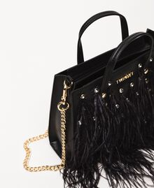 Shoulder bag with feathers and rhinestones Black Woman 201TA7192-05
