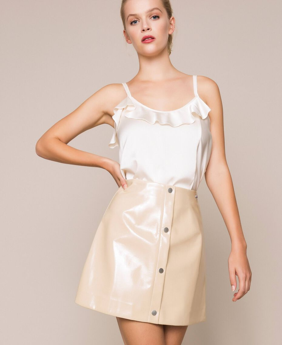 Glossy faux leather mini skirt Vanilla White Woman 201MP2240-01