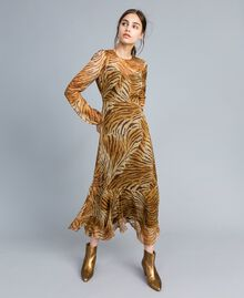 Long printed silk dress Tiger Print Woman TA8254-02