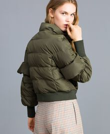 Short padded jacket with ruches Forest Green Woman TA82B5-03