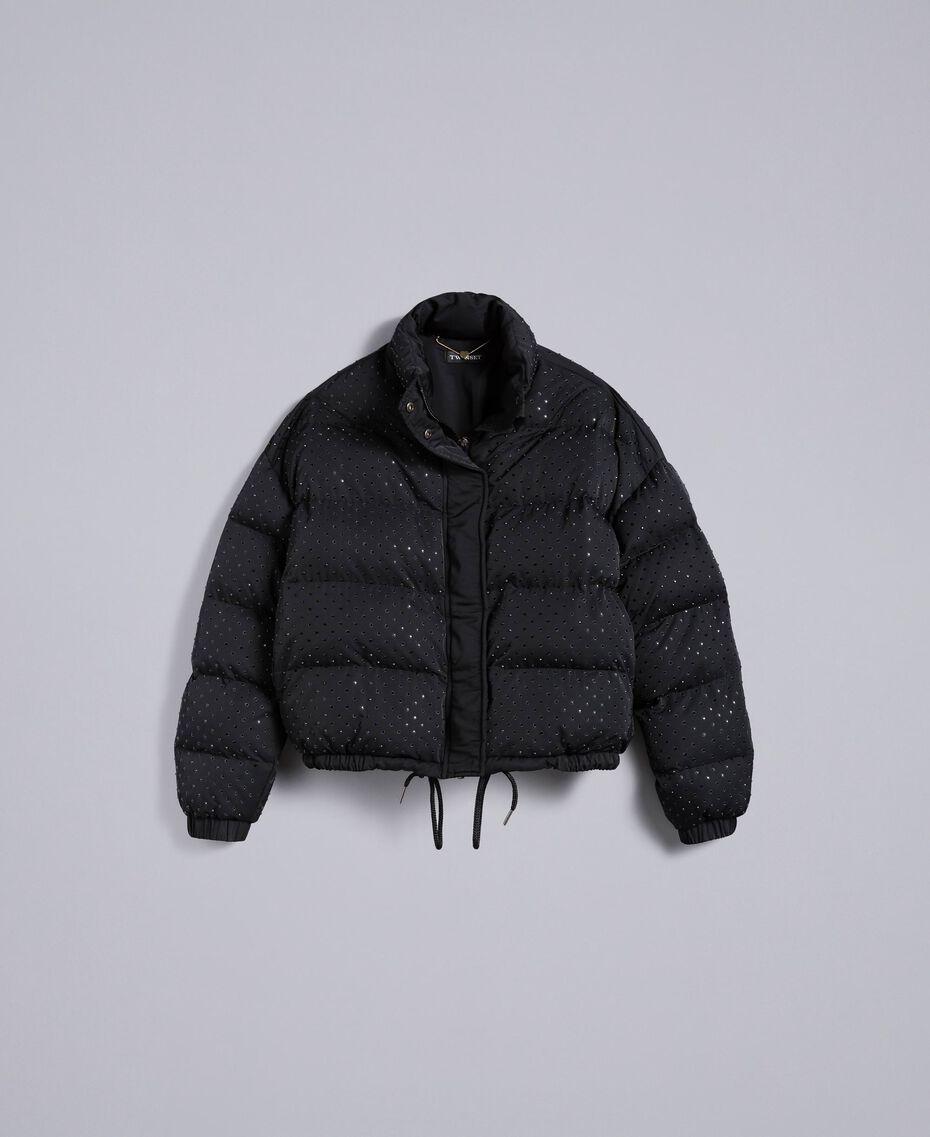 Short padded jacket with rhinestones Black Woman TA82CN-0S