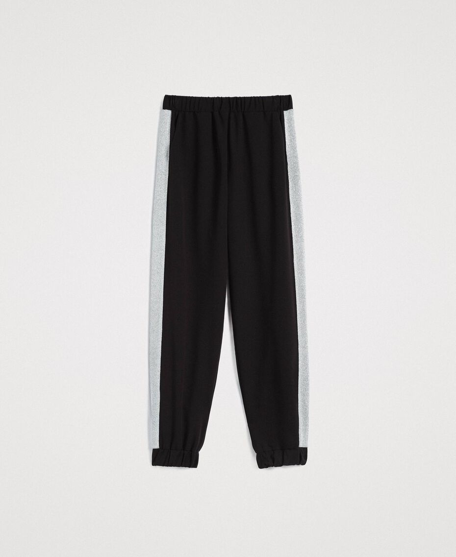 Jogging trousers with lurex panels Black Woman 191LL25KK-0S