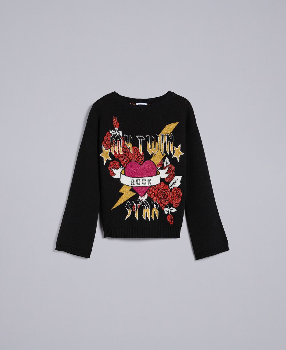 Piqué jacquard jumper with graphic Black Heart Jacquard Woman YA832B-0S