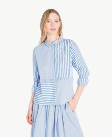 Chemise patchwork Multicolore Rayure Topaze Bleue Femme JS82DR-01
