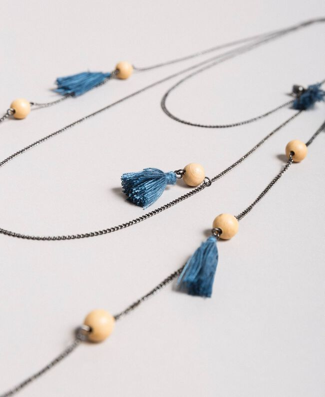 Multi-string tassels necklace Mykonos Light Blue Woman 191TA431K-01