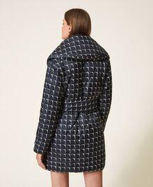 """Optical print puffer jacket Black /""""Nude"""" Beige Optical Print Woman 202ST2190-05"""