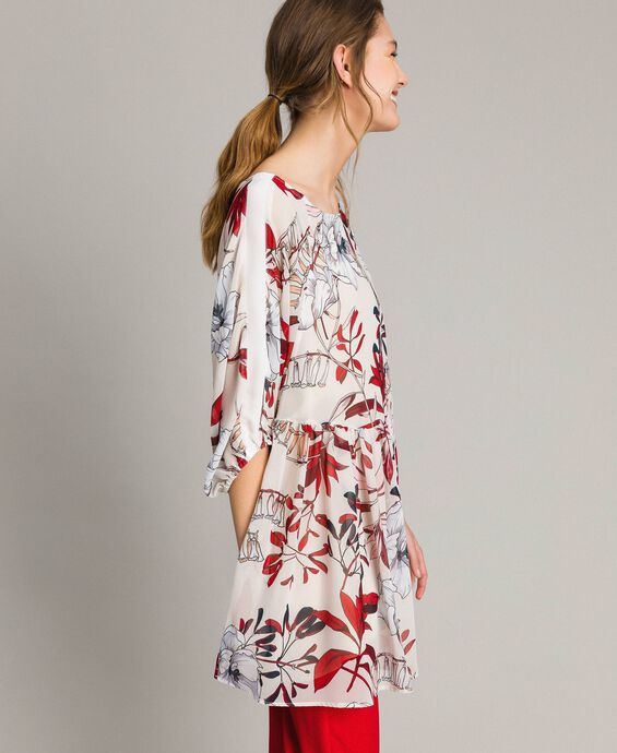 Tunikakleid aus Georgette mit Blumenprint