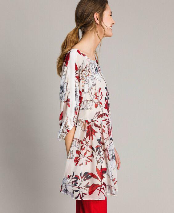 Robe tunique en crêpe georgette avec imprimé floral