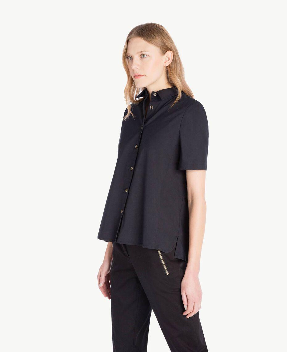 Hemd aus Popeline Schwarz Frau TS82ZD-02