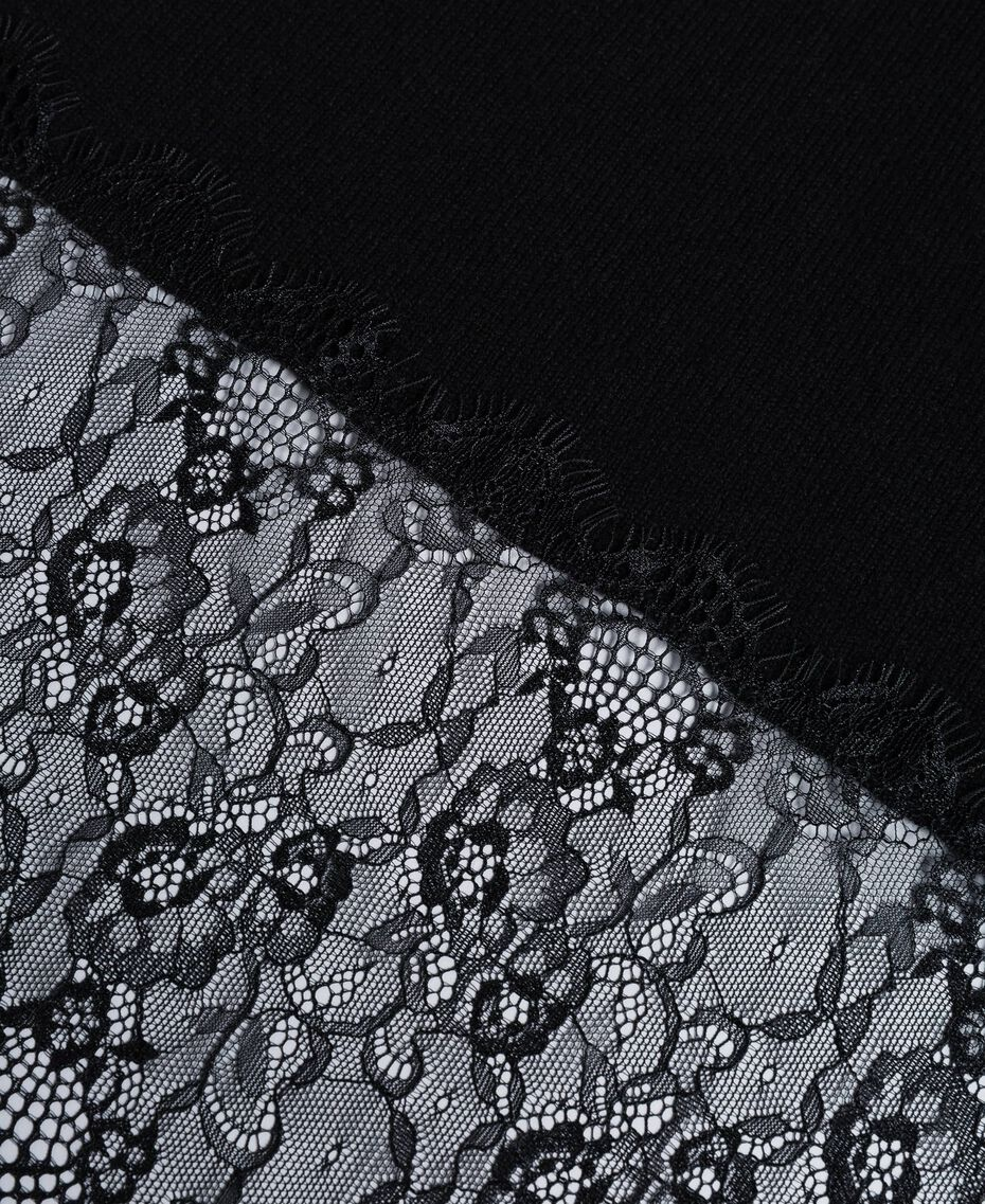 Cashmere and lace scarf Black Woman OA8T1H-02