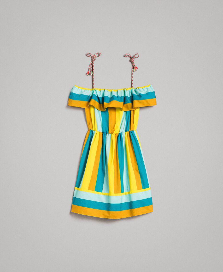 Mehrfarbig gestreiftes Popeline-Kleid Multicolour Motiv Keramikblau Frau 191TT2412-0S